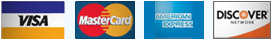 Accepted Credit Cards - VISA, MASTER CARD, AMERICAN EXPRESS, DISCOVER