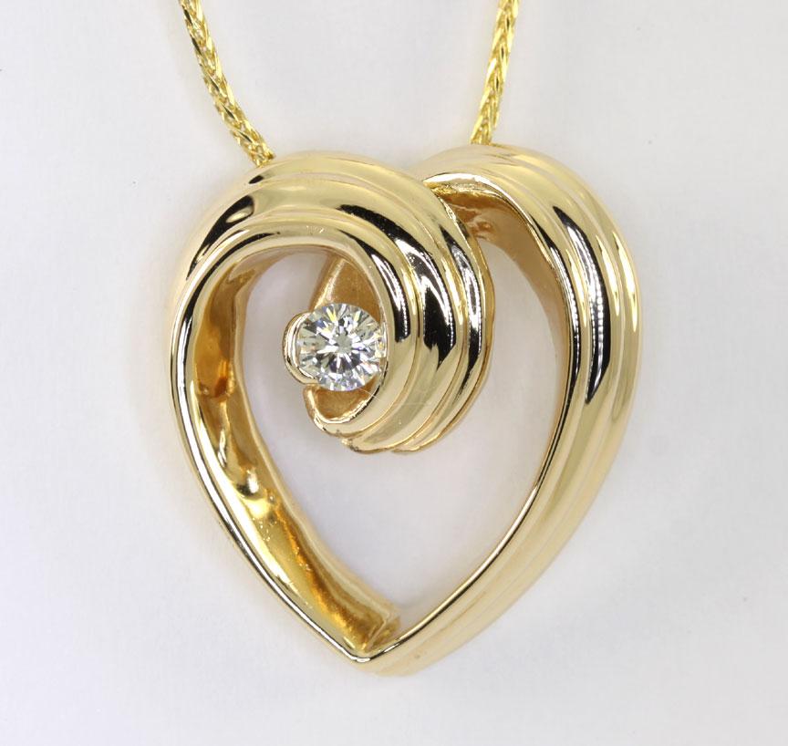 diamond heart pendant necklace 14k yellow gold g color 1 round brilliant 25ct ebay. Black Bedroom Furniture Sets. Home Design Ideas