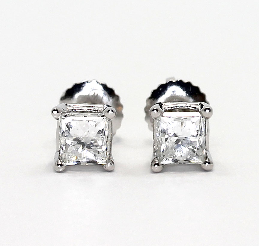 .80ct Princess Cut Stud Earrings in Solid 14k Real White Gold Screw Back
