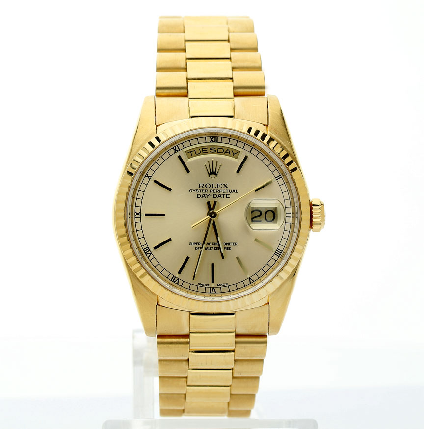 e9f558a0720 1990 Rolex President 18K yellow gold   18238 36 MM champagne dial ...