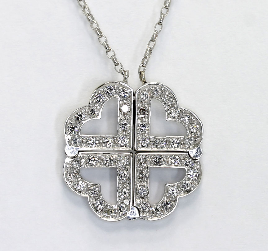 670f32465 Diamond lucky in love clover hearts convertible magnetic necklace ...