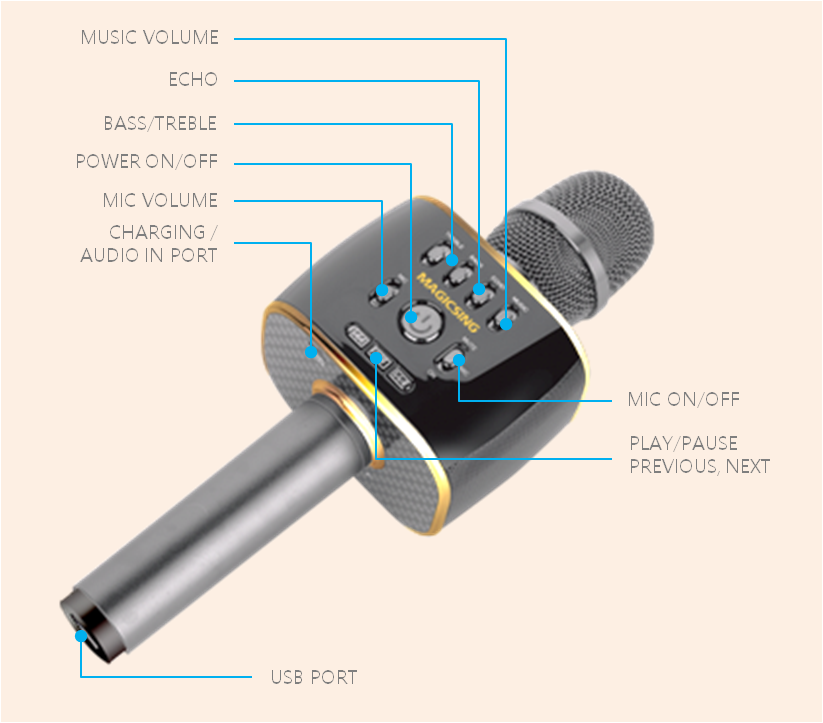 Magic Sing MP-30 Karaoke Bluetooth Microphone !2K English Songs Include + 1  Year Access to 289K International Songs