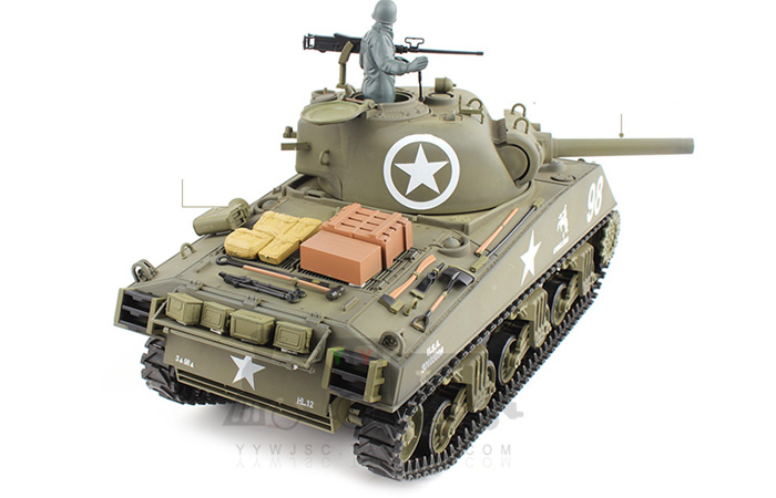 (HL 3898 Basic Plastic Parts Edition) 2.4GHz Radio Remote Control 1/16 Scale Model Tank, HENG-LONG M4A3 Sherman RC Tank.