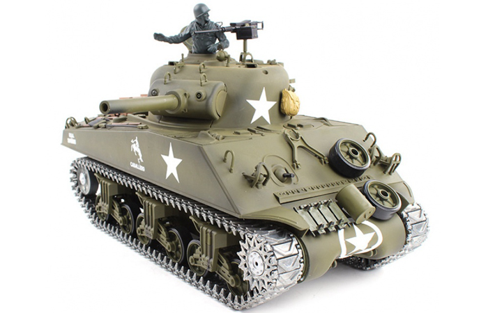 (HL 3898-1 Metal Track, Metal Sprocket Wheel, Metal Guide Wheel, Metal Gearbox Edition)  2.4GHz Radio Remote Control 1/16 Scale Model Tank, HENG-LONG M4A3 Sherman RC Tank..