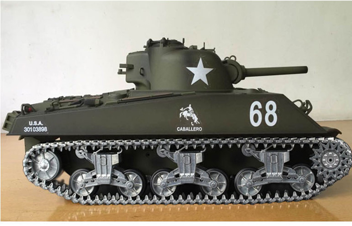 (HL 3898-2 Metal Road Wheels, Metal Suspension System, Metal Track, Metal Sprocket Wheel, Metal Guide Wheel, Metal Gearbox Edition) 2.4GHz Radio Remote Control 1/16 Scale Model Tank, HENG-LONG M4A3 Sherman RC Tank.