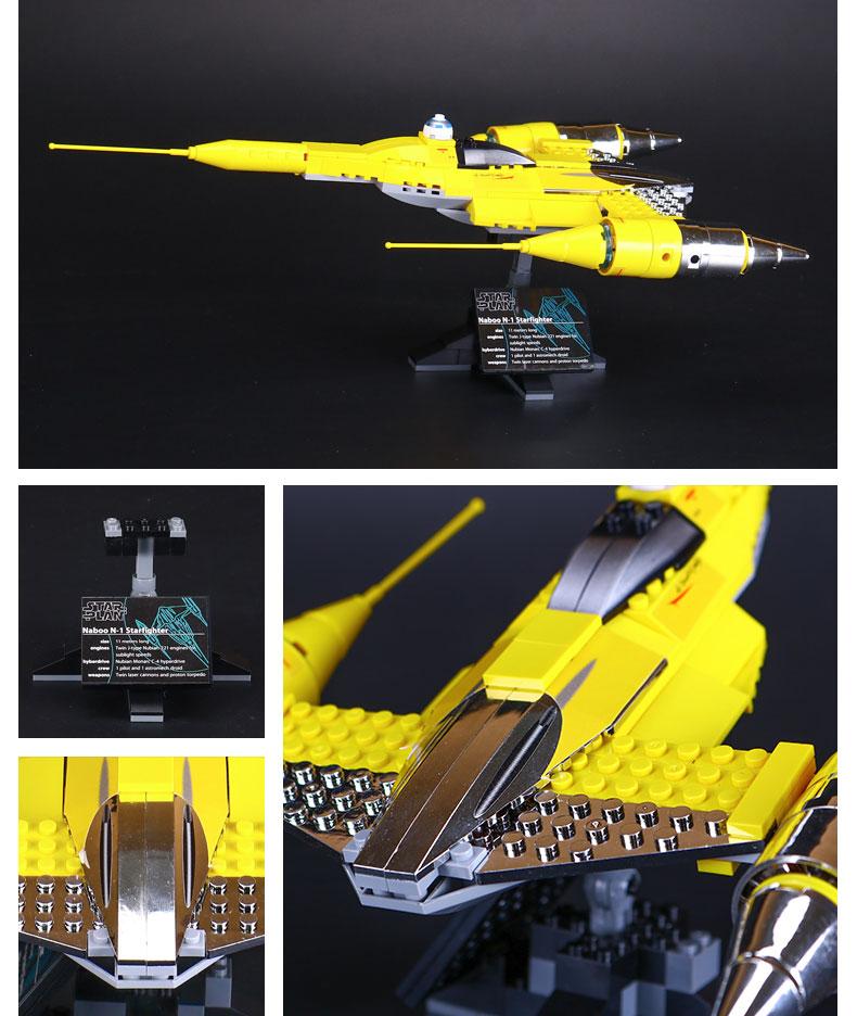 Custom Star Wars Naboo Starfighter Building Bricks Toy Set