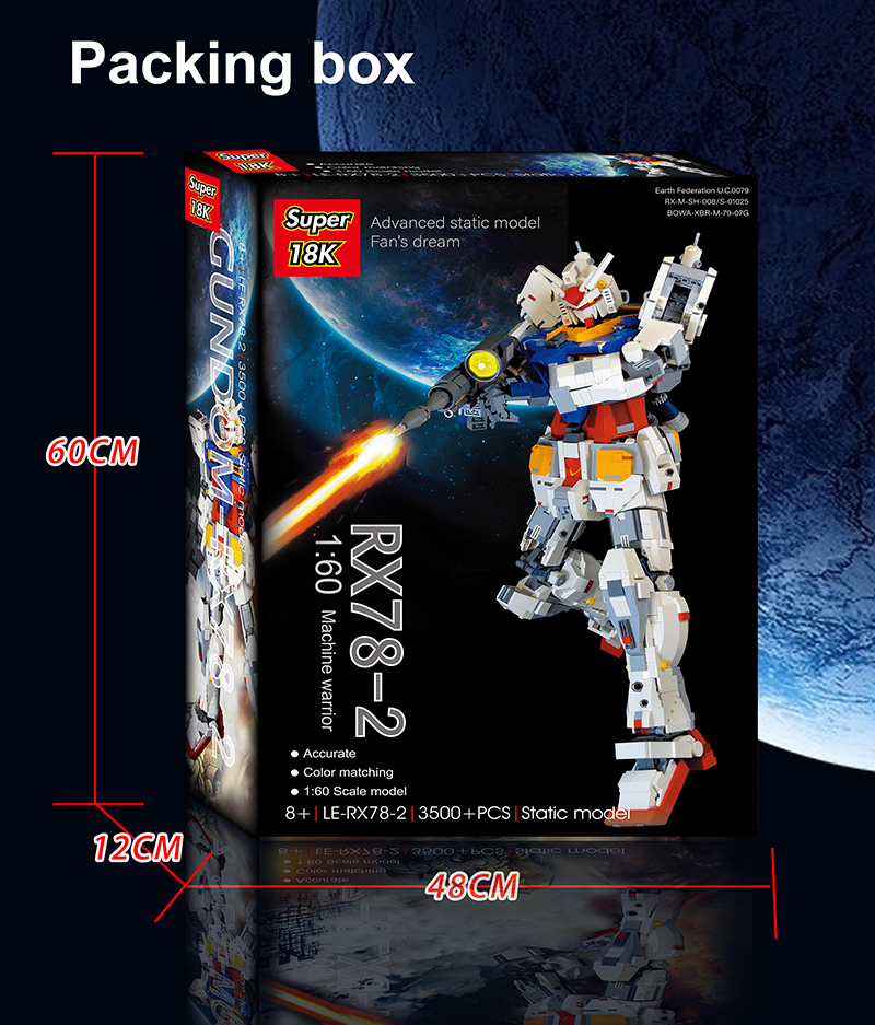 Custom Super 18k Gundam 1:60 RX 78-2 Building Bricks Toy Set 3500 Pieces