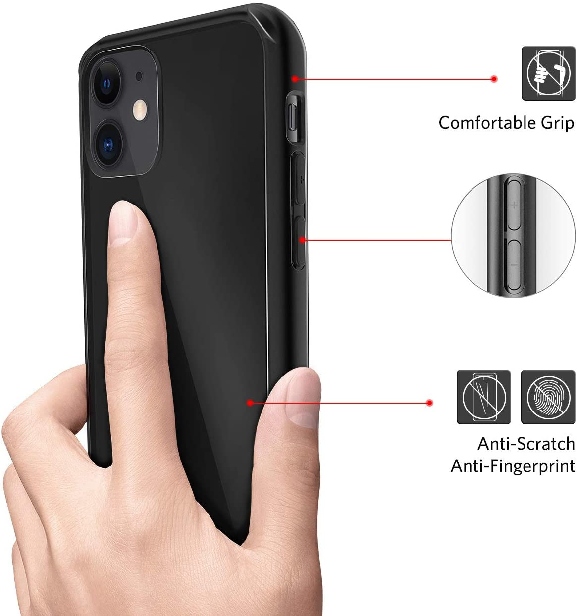 Mkeke Compatible with iPhone 11 Case, Clear iPhone 11 Cases Cover for iPhone 11 6.1 Inch-Black