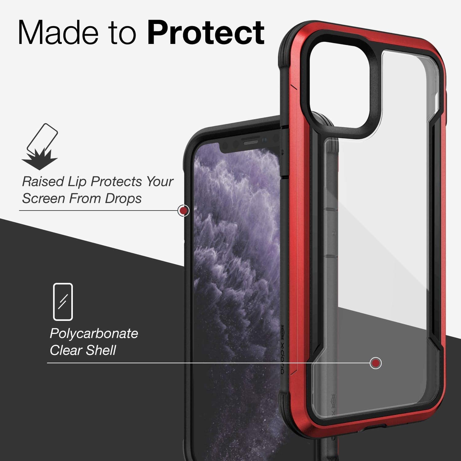 X-Doria Defense Shield, iPhone 11 Case - Military Grade Drop Tested, CNC Anodized Aluminum Metal, TPU, and Polycarbonate Protective Case for Apple iPhone 11, (Red)