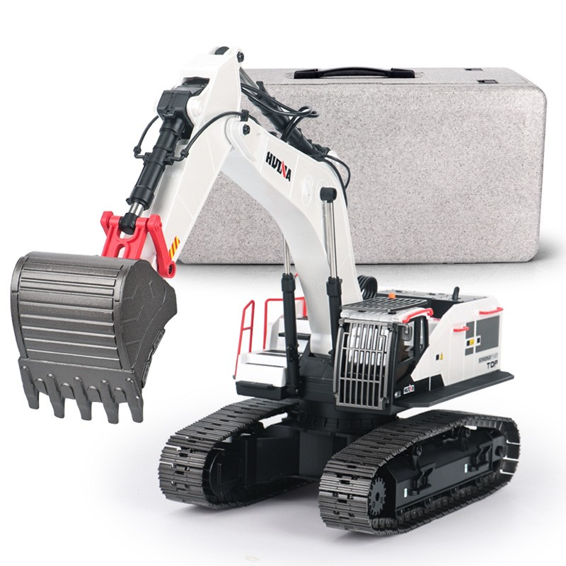 Big and Powerful Full Metal RC Excavator, HuiNa Toys 1594 / 594 2.4G 22CH 1/14 Scale Remote control excavator. Upgraded working arm, White RC excavator Scale model..