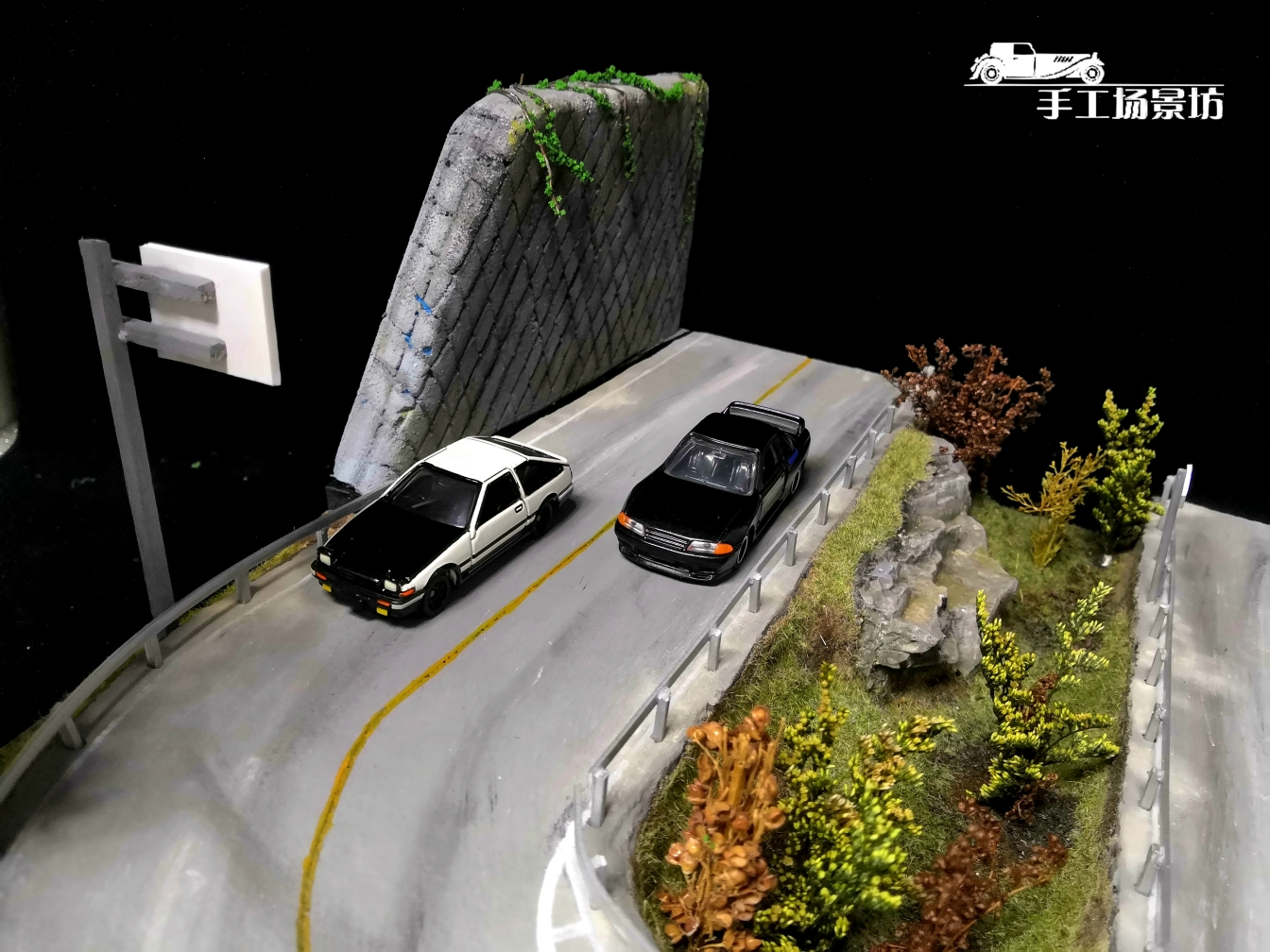 1:64 scale Diorama, Initial D Akina Mountain Racing scene. suitable for 1/64 scale Die-cast model car 1/64 matchbox cars, Hot Wheels, TOMICA cars, takumi cars.