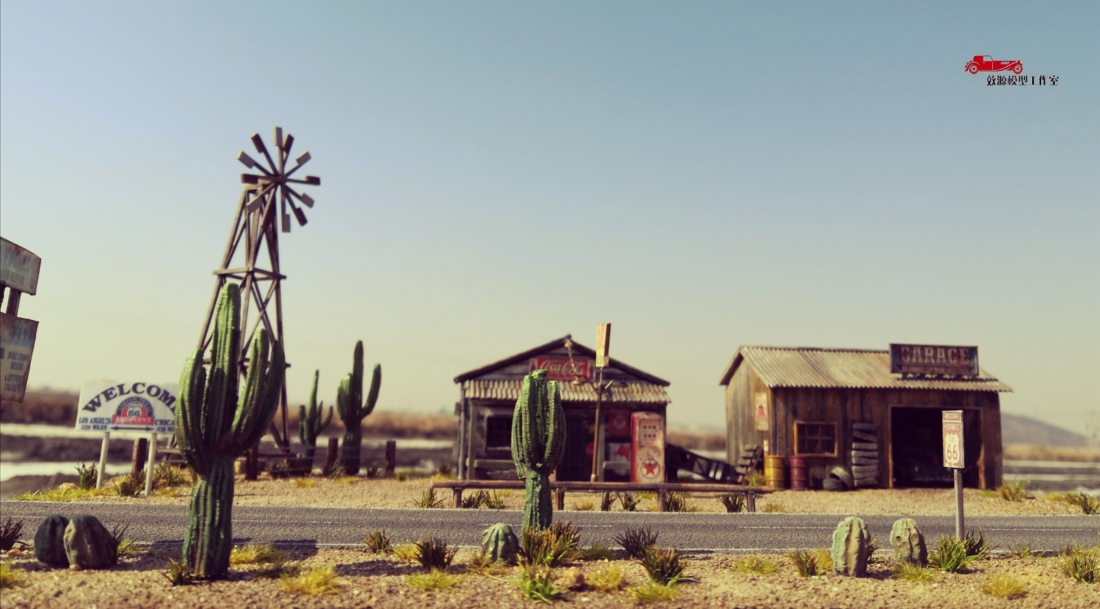 1/64 Scale Route 66 Diorama, Suitable for 1:64 Die-cast scale model cars, classic Route 66 Decor old windmill, Coca Cola, Gas station, Western style, Cactus. welcome Route 66..