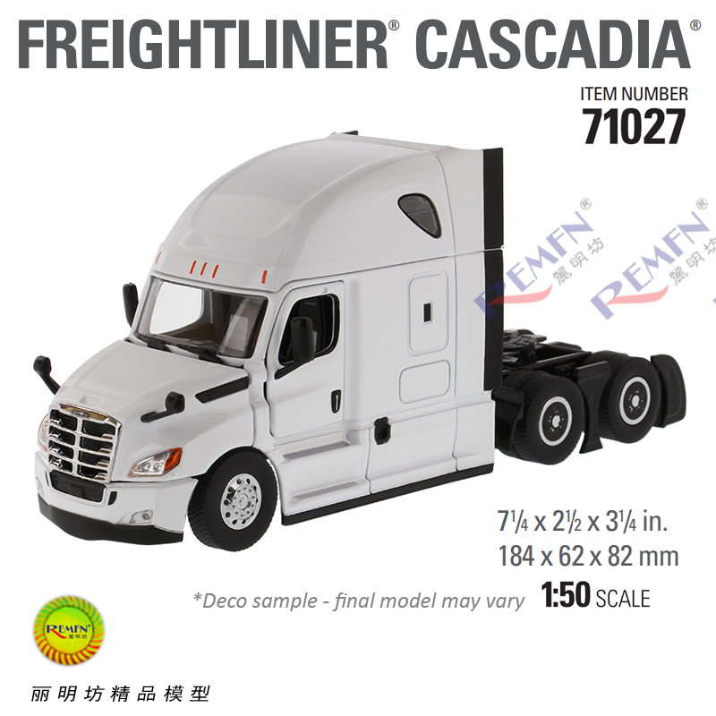 1:50 Scale Diecast Diecast Masters 71027 71029 71031 Scale Model, Dicast Masters Freightliner New Cascadia Sleeper Cab Truck Tractor Yellow Red White Die-cast Scale Model.