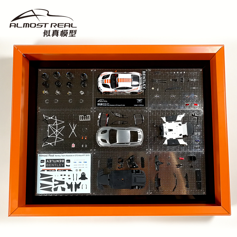 1/43 Scale model Car, ALMOST REAL B.O.M BENTLEY GT3 TEAM 2015 GT3 ASIA CAR #8, #7 With Display Case, Almost Real 430307 DISPLAY BUILD N MINICHAMPS.
