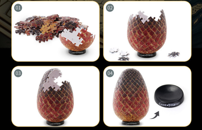 Cubicfun 3D Puzzle Toys/Games E1627h, HBO Game Of Thrones Dragon Eggs 3D Puzzle Kits.