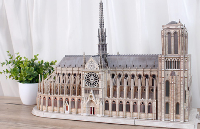 Cubicfun 3D Puzzle Paper MC260h, Notre Dame de Paris Paper Puzzle. Church Scale Model Puzzle Kits..