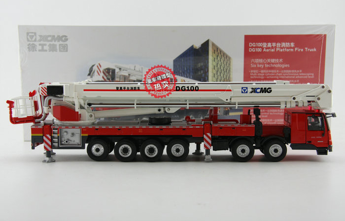 1/50 Scale Model Mercedes-Benz Truck XCMG DG100 Aerial Platform Fire Truck Diecast Model.