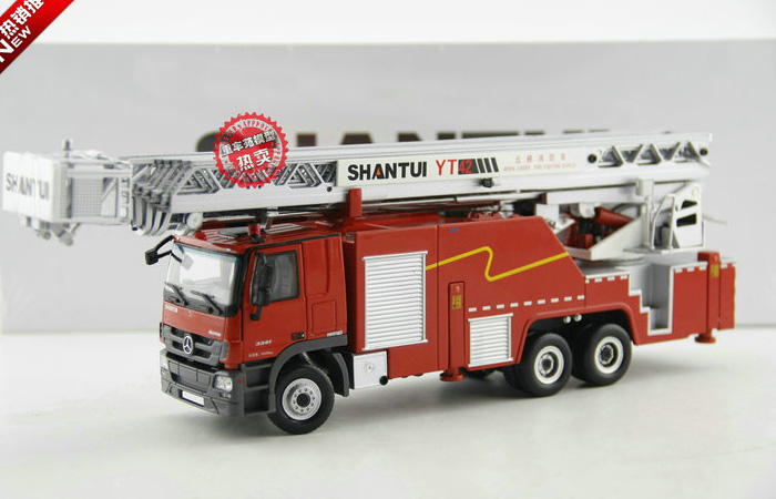 1/50 Ladder truck Scale Model, Shantui YT42 Benz ACTRO Aerial ladder Fighting Vehicl Original Diecast Model truck, Ladder Fire truck Toy .