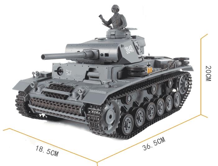 HENG-LONG Toys RC Tank 3848, WWII German Panzer III 1/16 Scale Model Tank, Airsoft tank, military vehicles, radio control battle tank.