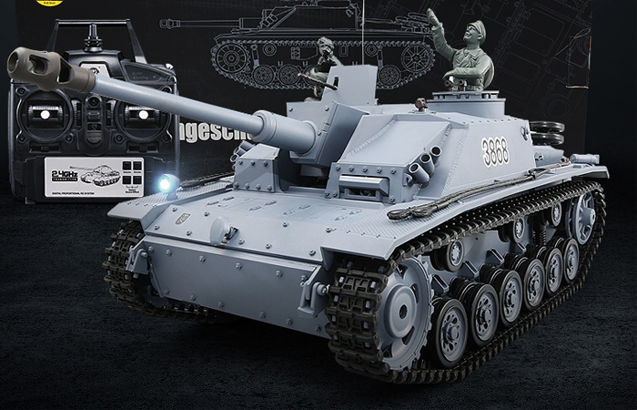 HENG-LONG Toys 3868 RC Scale Model Tank, World War II German StuG III Ausf. F/8 (Sd.Kfz.142/1) Remote Control Tank.