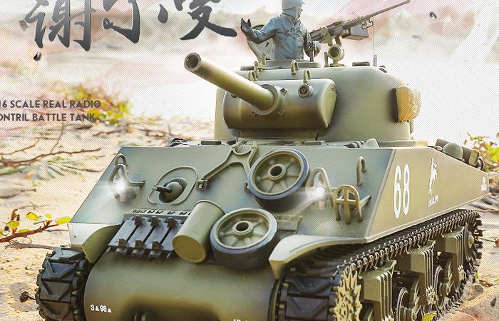 HENG-LONG Toys 3898 RC Scale Model Tank, World War II US M4A3 Sherman Remote Control Tank.