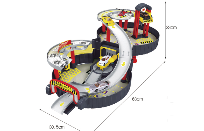 Wheel Style, Collapsible, Kids toys Garage Parking Playset With die-cast toy cars.
