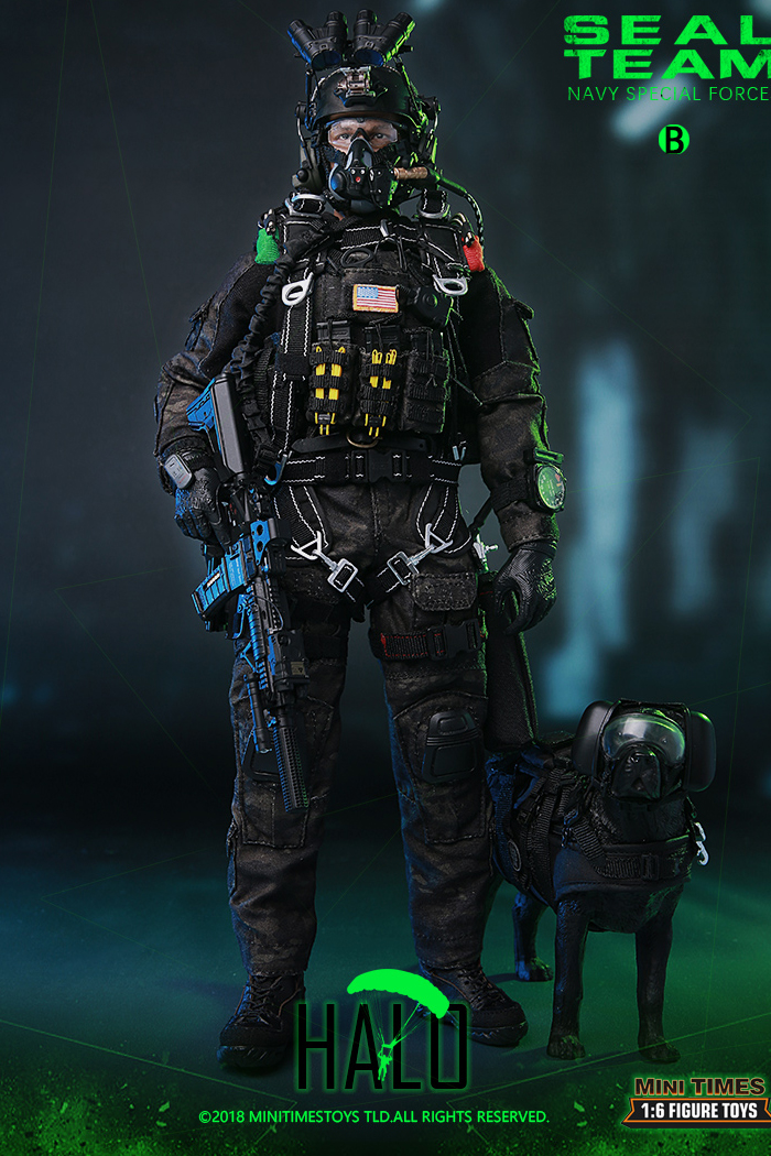 MINI TIMES Toys MT-M013 12 Inch Figure Scale Model US Navy Special Forces Seal Team HALO w/ Dog.