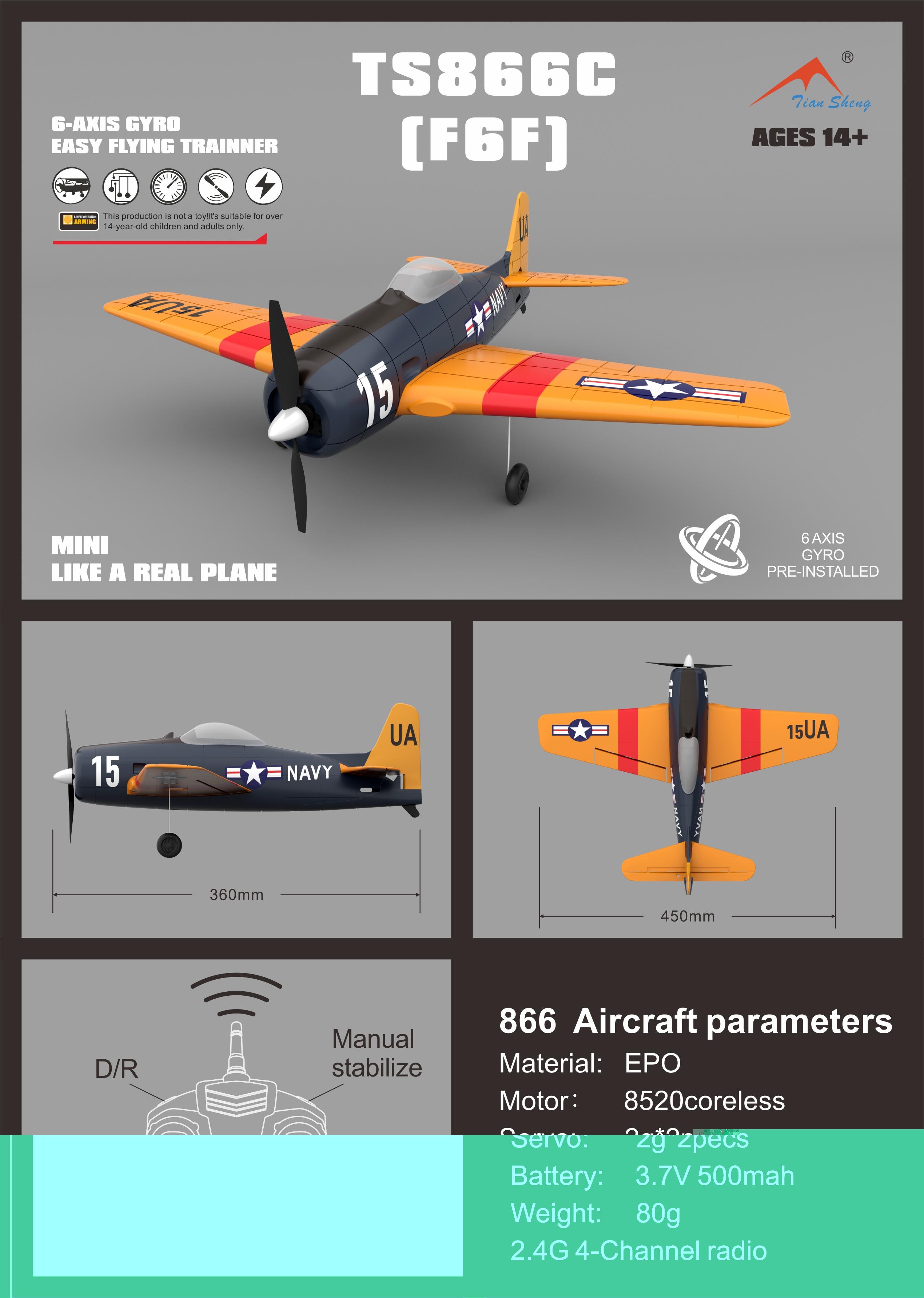 1/36 Scale Model Mini RC Aircraft, Grumman F6F Hellcat Fighters Remote Control Airplane.