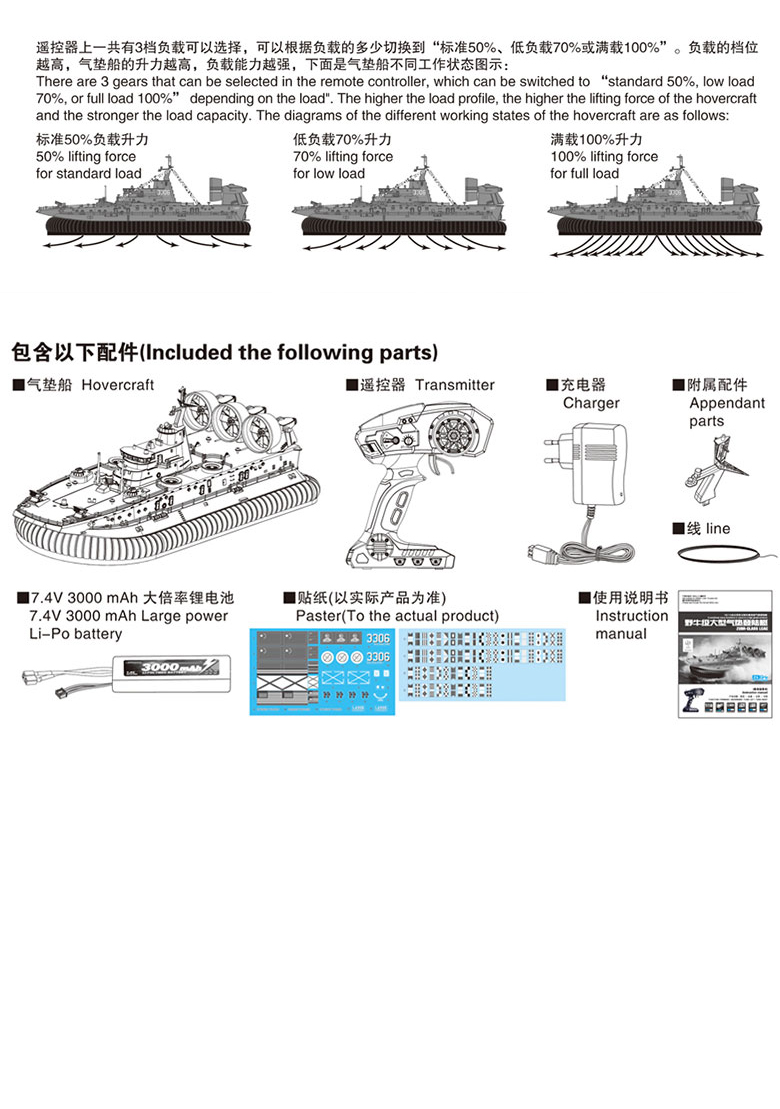 Large Scale HG-C201 Remote Control Zubr-Class LCAC, RC Ship Model, Landing Ship Scale Model.