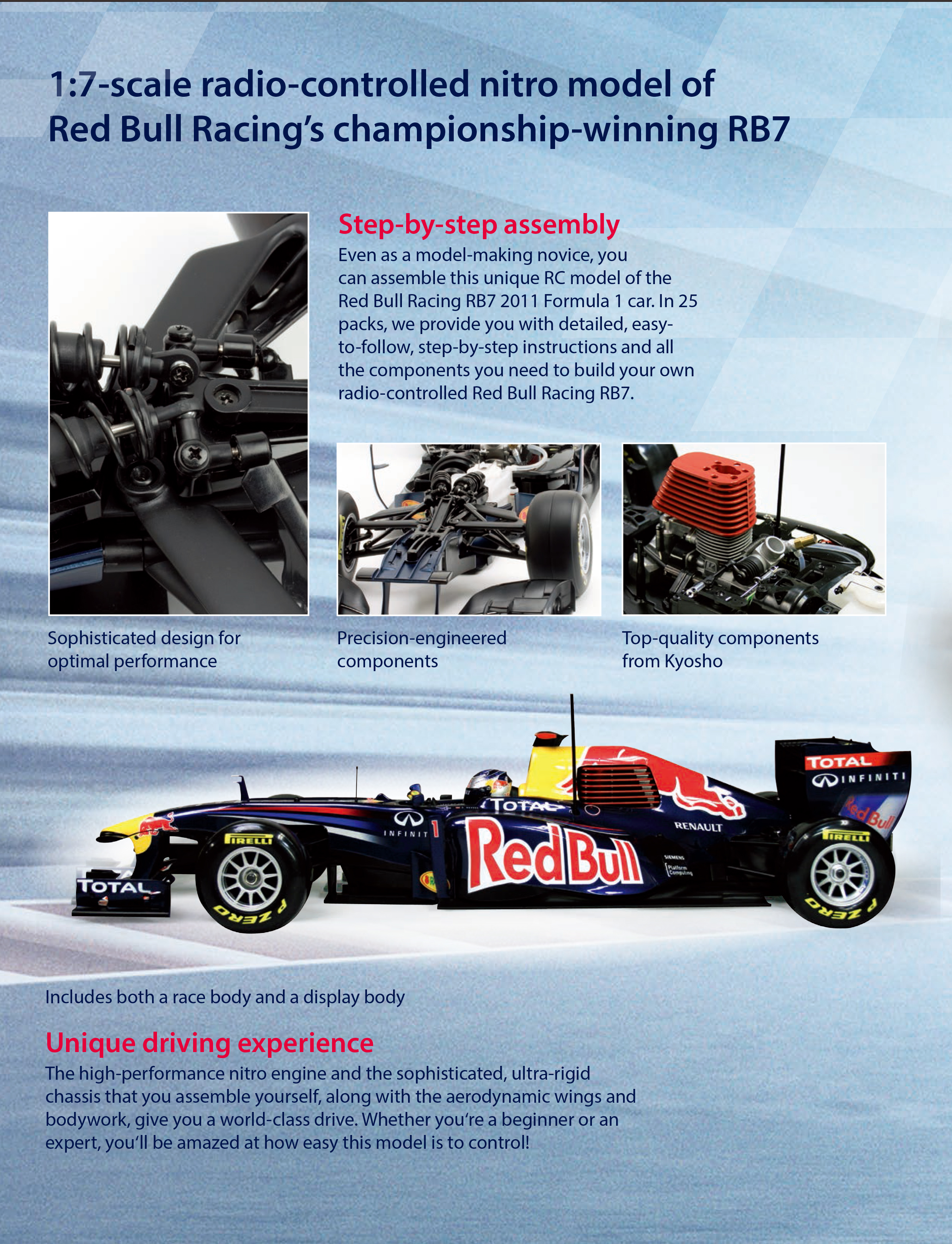 Kyosho 1:7 Scale Model Red Bull F1 Racing RB7 Nitro Remote Control Formula 1 Car.