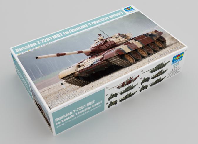 1/35 Scale Plastic Model Kit, TRUMPETER 09555 Russian T-72B1 MBT (W/Kontakt-1 Reactive Armor).