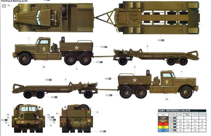 Merit Plastic Model kits MIL-63501, WWII American M19 Truck TANK TRANSPORTER W/HARD TOP CAB Model Kit Scale Model, Military Truck Model