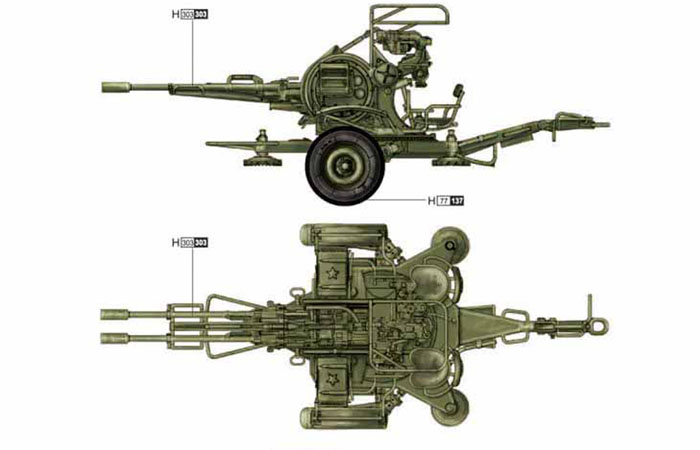 TRUMPETER Plastic Model Kit 02348, 1/35 Scale Russian (Soviet Union) ZU-23-2 Anti-Aircraft Gun Plastic Model Kit Scale Model, Static Weapon Model