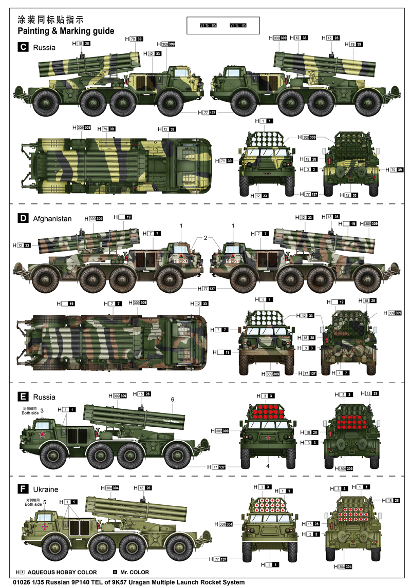1/35 TRUMPETER 01026 Scale Model Kit, Russian 9P140 TEL of 9K57 Uragan Multiple Launch Rocket System.
