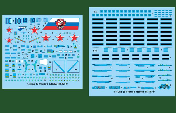 1/48 Scale Model Hobby Boss 81711 Su-27 Flanker B Jet Fighter Plastic Model kits.