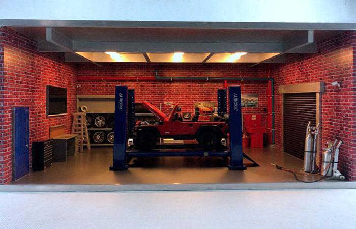 1/18 Scale Model Car Repair Room Scenes Diorama With Car Repair Scale Model.