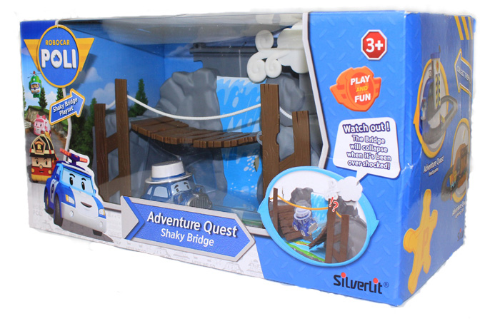 Silverlit Toys Robocar Poli Shaky Bridge Play Set, Movie Cartoon Characters Kids Toy.