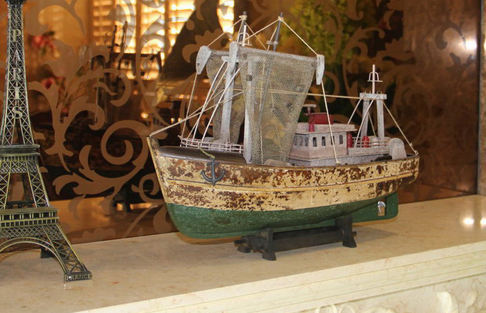 Wooden Mediterranean Fishing Boat Scale Model, Wood Crafts, Fishing Craft Art And Craft.