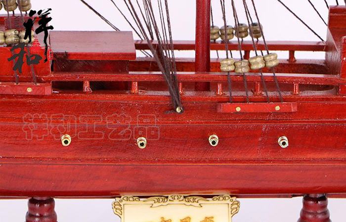 Wooden Red Sailing Battleship Scale Model, Wood Crafts, Wooden Decorations, Handmade Crafts.