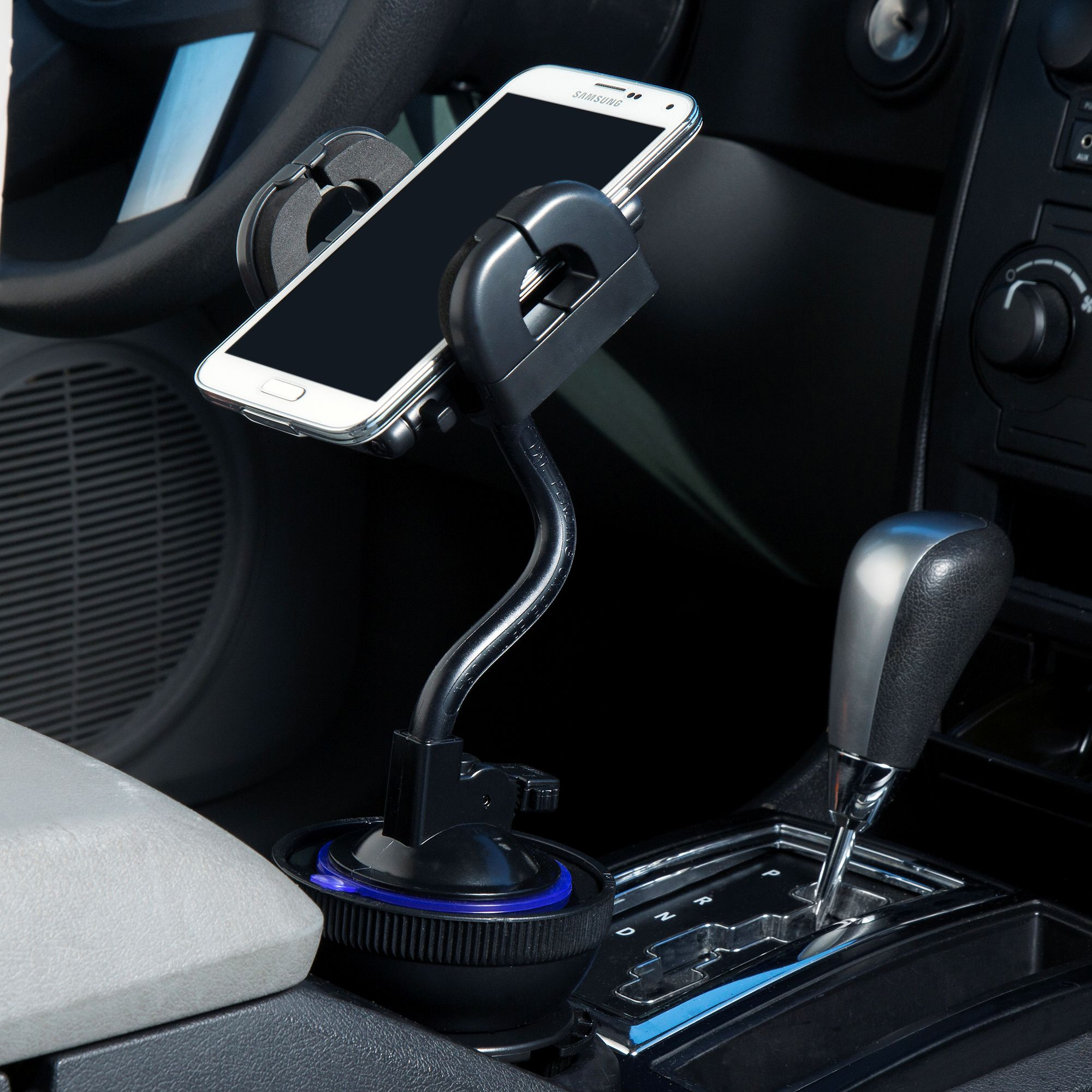 Unique Auto Cupholder and Suction Windshield Dual Purpose Mounting System for TomTom VIA 1500 - Flexible Holder System Includes Two Mount Options