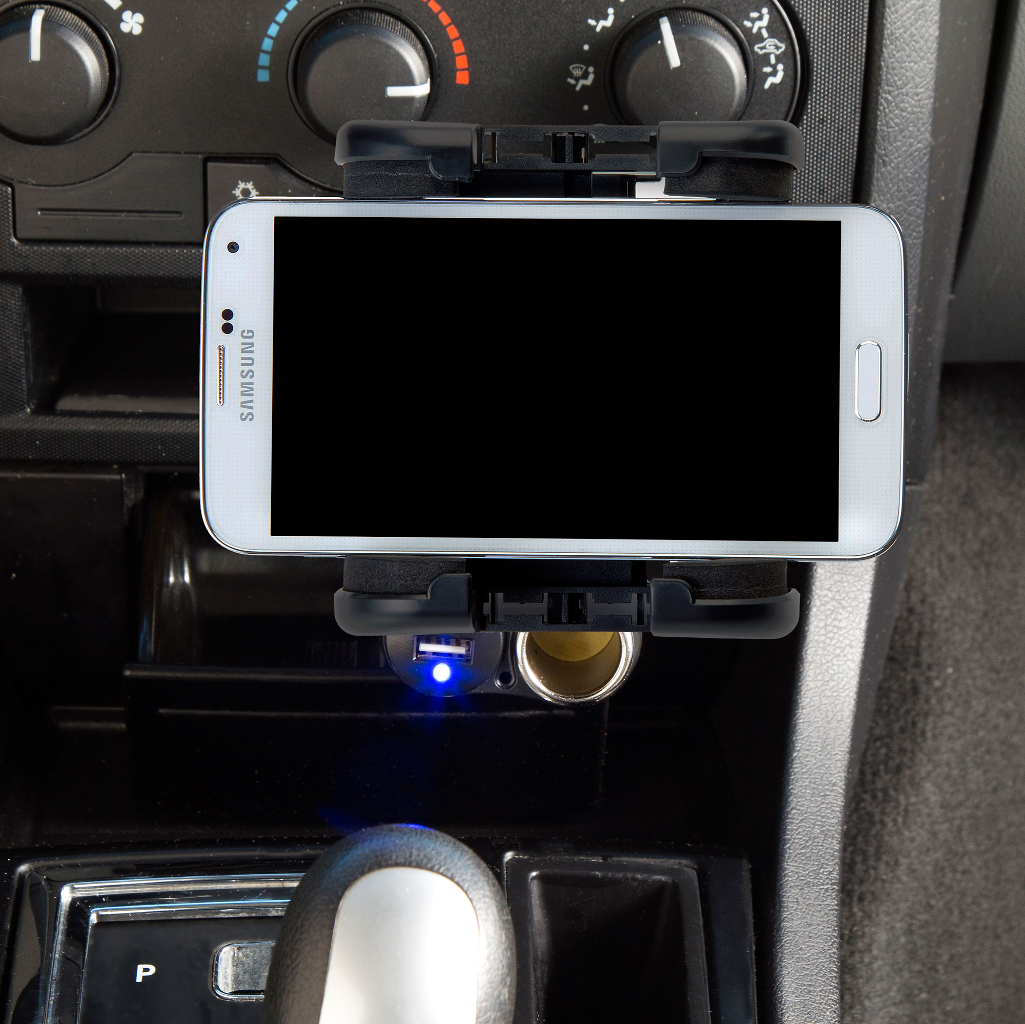 Dual USB / 12V Charger Car Cigarette Lighter Mount and Holder for the HTC Salsa