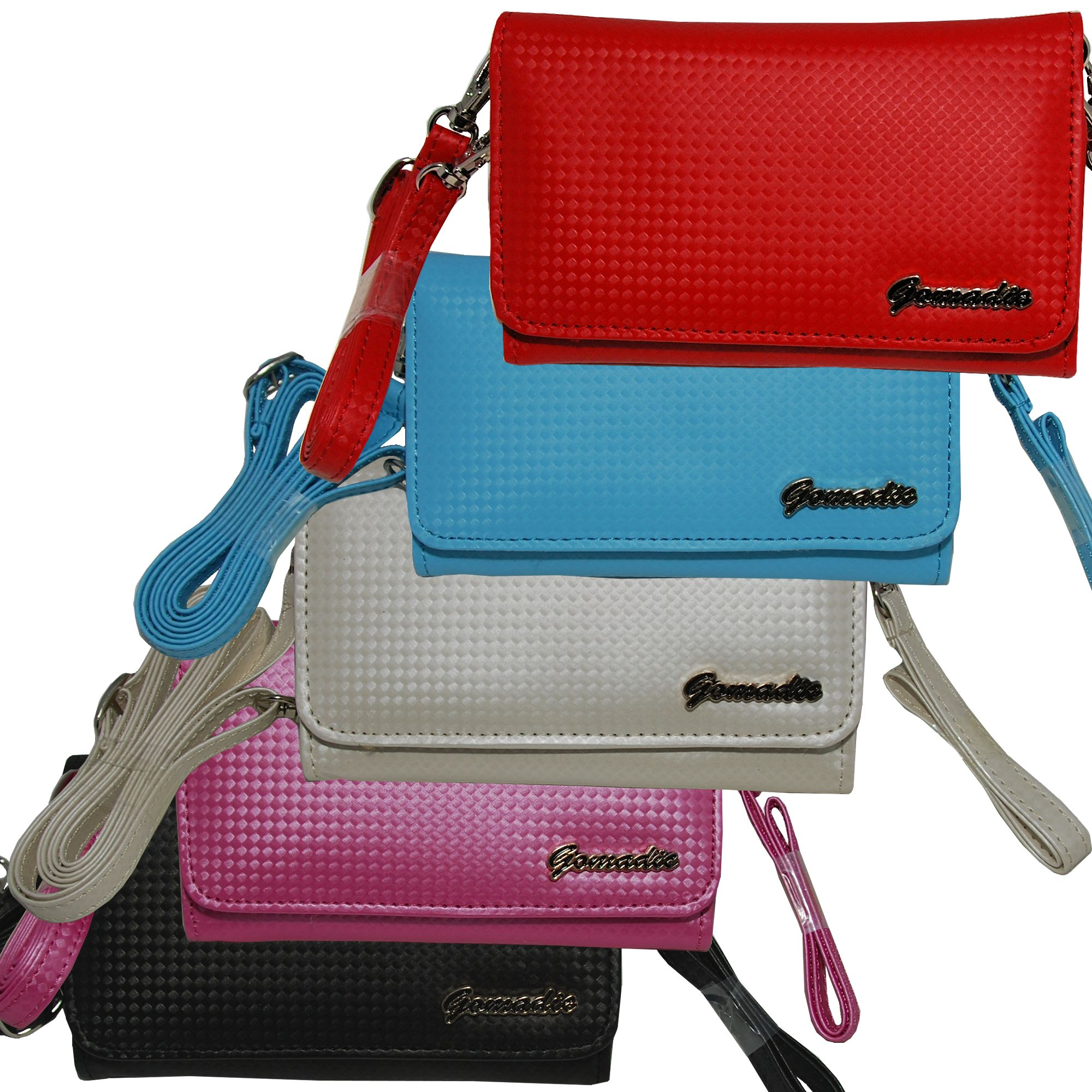 Purse Handbag Case for the HTC HD7 with both a hand and shoulder loop - Color Options Blue Pink White Black and Red