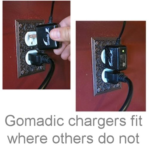 Gomadic Intelligent Compact AC Home Wall Charger suitable for the HTC Supersonic - High output power with a convenient; foldable plug design - Uses TipExchange Technology