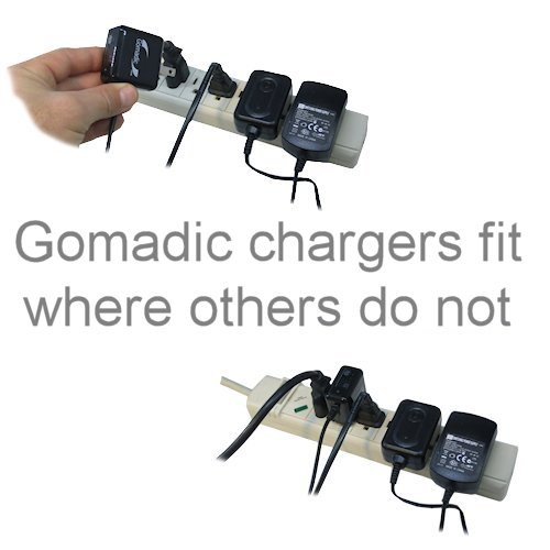 Gomadic Double Wall AC Home Charger suitable for the PURE PocketDAB 1500 - Charge up to 2 devices at the same time with TipExchange Technology