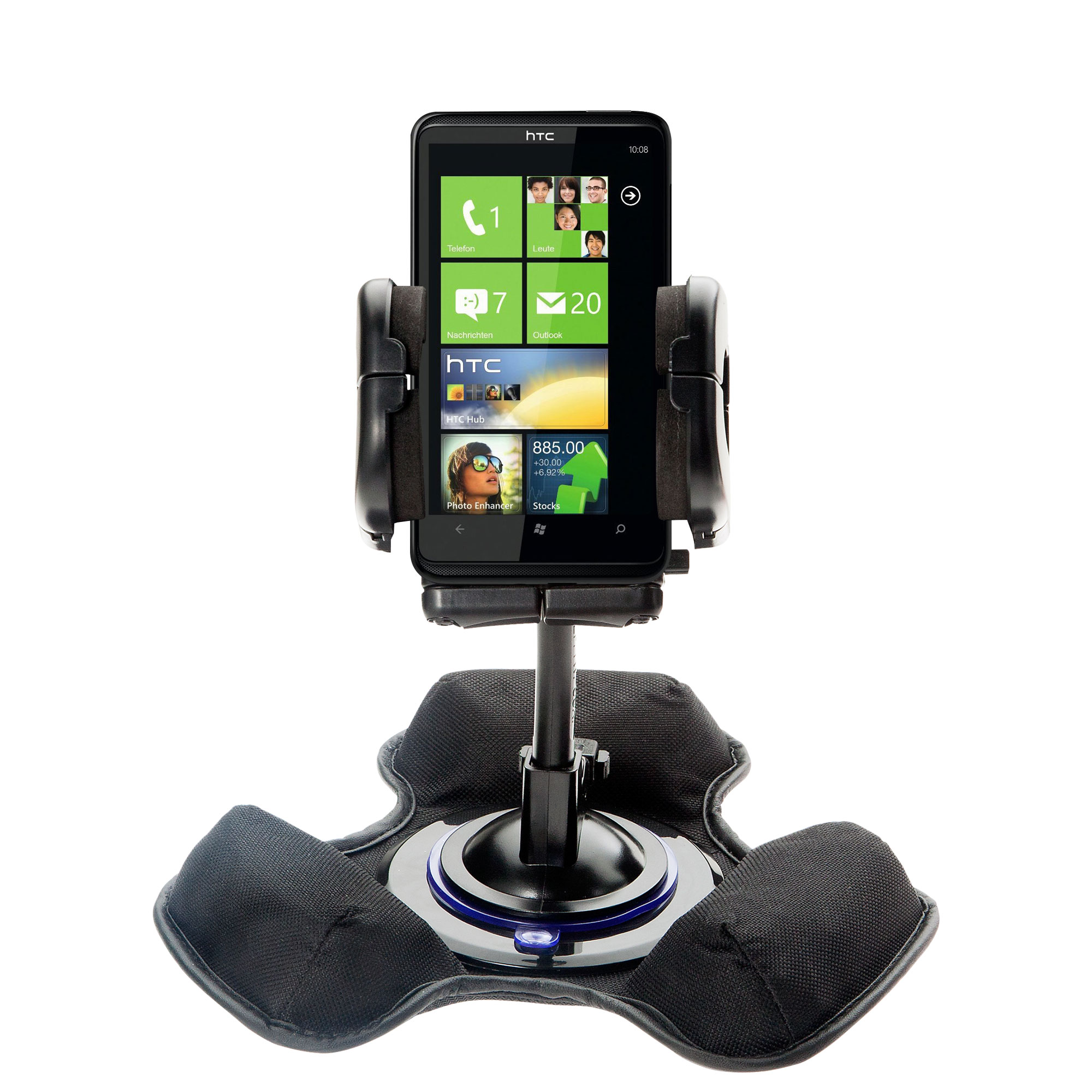 Car / Truck Vehicle Holder Mounting System for HTC HD7 Includes Unique Flexible Windshield Suction and Universal Dashboard Mount Options