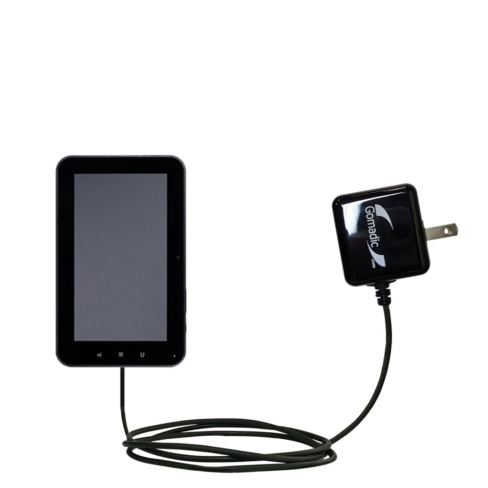 Gomadic Intelligent Compact AC Home Wall Charger suitable for the Tursion ZTPAD C97 - High output power with a convenient; foldable plug design - Uses TipExchange Technology