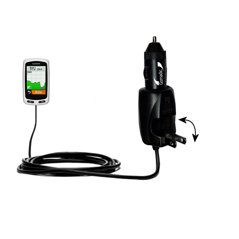 Car & Home 2 in 1 Charger compatible with the Garmin Edge 1000