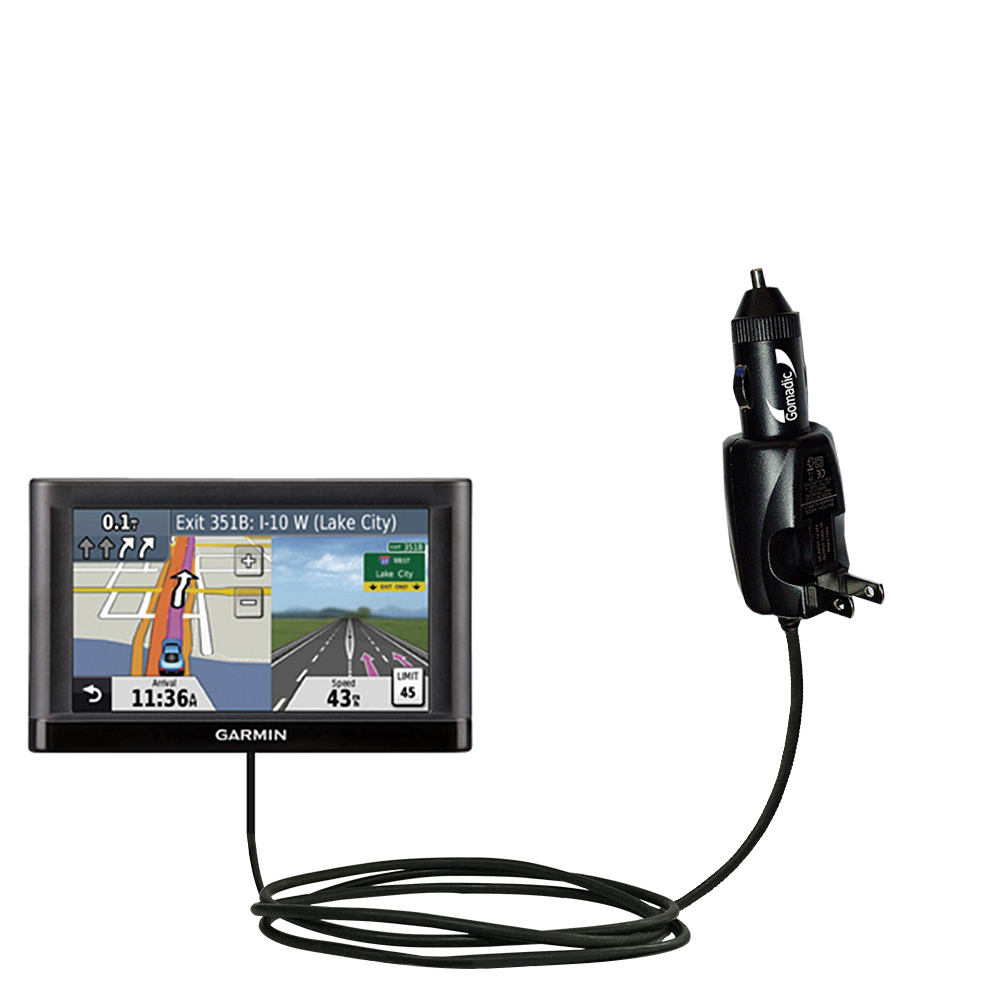 Car & Home 2 in 1 Charger compatible with the Garmin nuvi 52 / nuvi 54