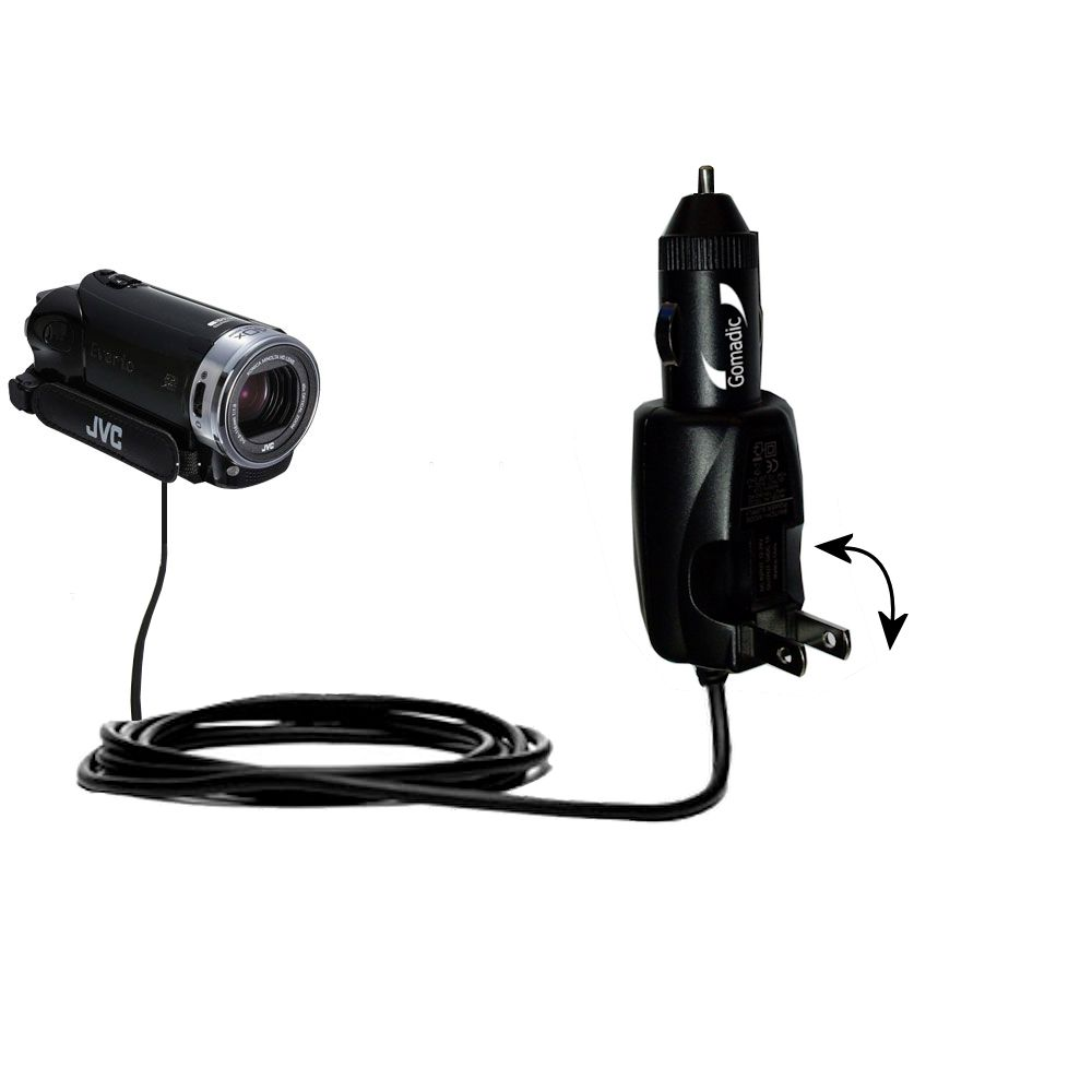Car & Home 2 in 1 Charger compatible with the JVC Everio GZ-EX215 / GZ-EX250BUS
