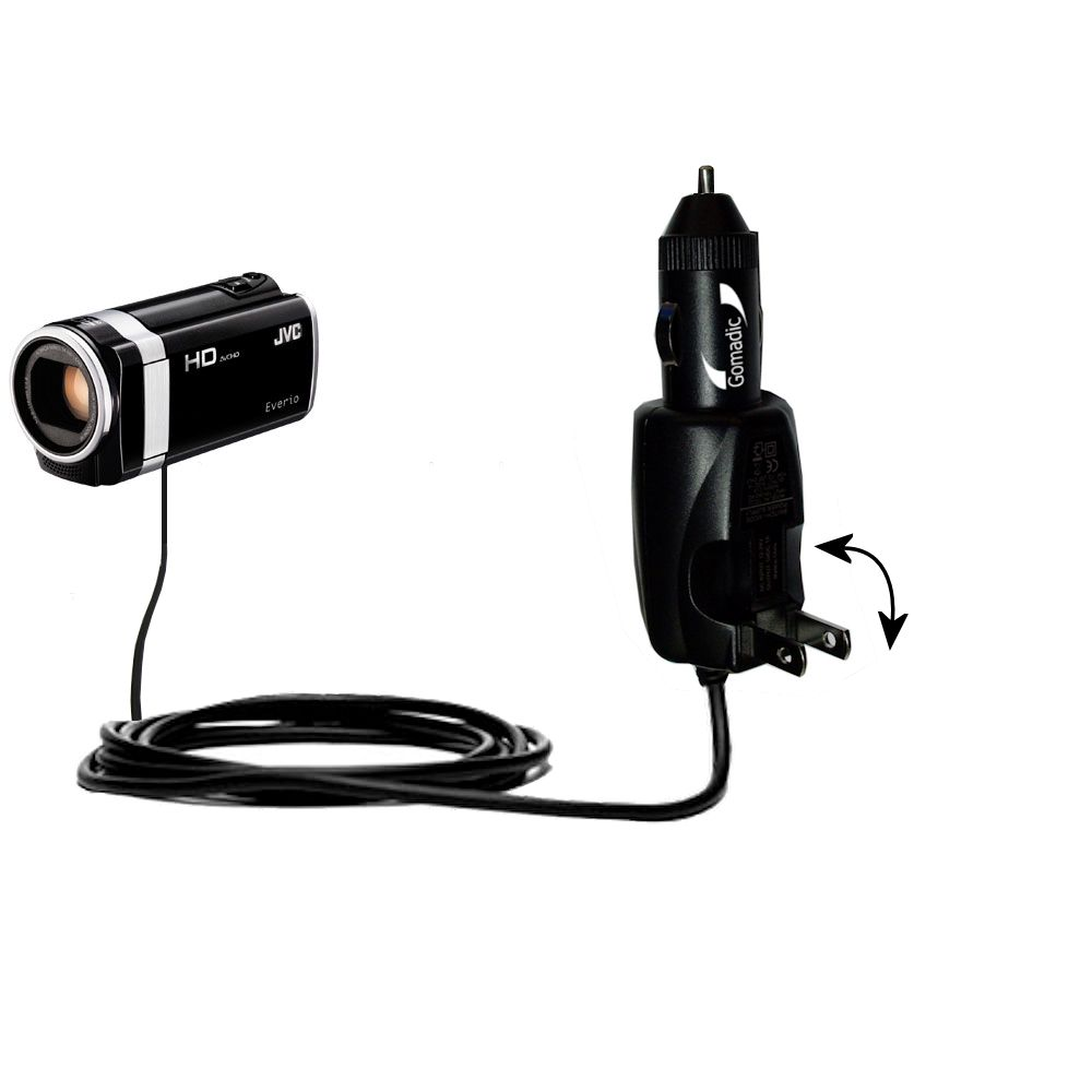 Car & Home 2 in 1 Charger compatible with the JVC Everio GZ-HM670 / HM690